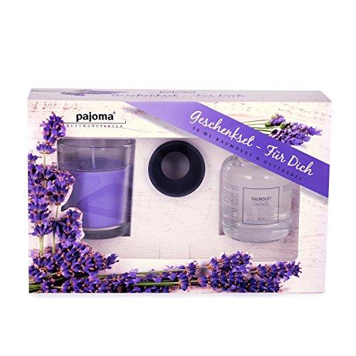 Pajoma Coffret Cadeau pour étang Parfum d'intérieur 50 ML + Bougie parfumée 40 g Lavande