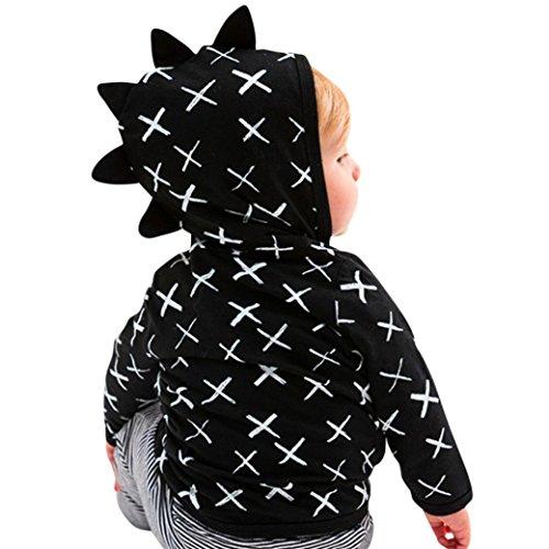Jungen Mädchen Dinosaurier Muster Reißverschluss Jacke Mantel Oberbekleidung Kleidung Mit Kapuze Dinosaurier gedruckte Jacke des Kindes (120, Schwarz) (Dinosaur Pet-kostüm)