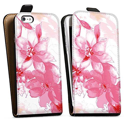 Apple iPhone X Silikon Hülle Case Schutzhülle Blüte Zeichnung Blätter Downflip Tasche schwarz