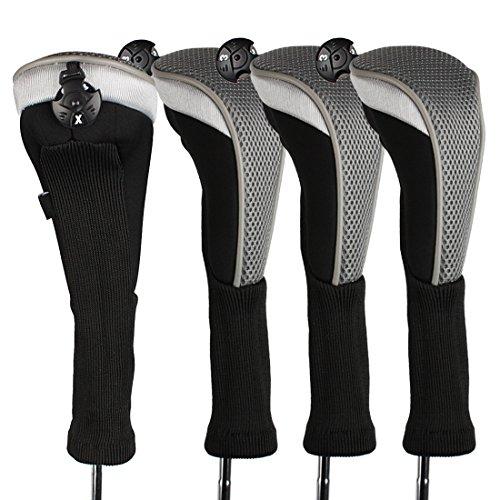 Andux 4/Pack Langer Hals Golf Hybrid Club Head Covers mit austauschbaren Keine. Tag ctmt-02, grau (Ping 4 Hybrid)