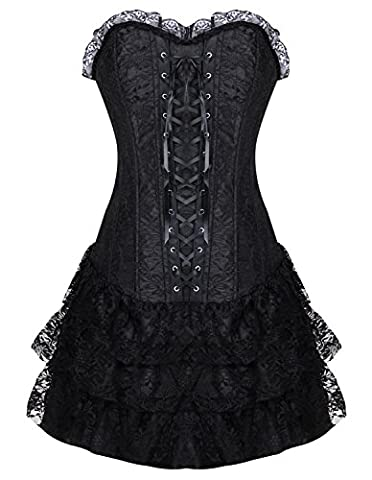 Burvogue Women's Gothic Boned Lace Corsets and Bustiers Dress with Skirt (Small, Black)