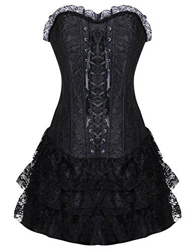 Burvogue Damen Gothik Bügel Spitze Korsetts und Halloween Korsagen Kleid mit Rock (Medium, Schwarz)