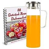 Super Stella Glassware Borosilikat Glaskaraffe, 1.2L, mit Edelstahldeckel - inkl. E-Book mit 88 tollen Getränkerezepten.Karaffe,Glaskrug,Glaskanne, Wasserkaraffe,Wasserkrug mit Blütenblatt geeignet.