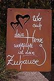 Edelrost Schild mit Herzen -Wo sich dein Herz- 35x25cm Tafel Gartendekoration