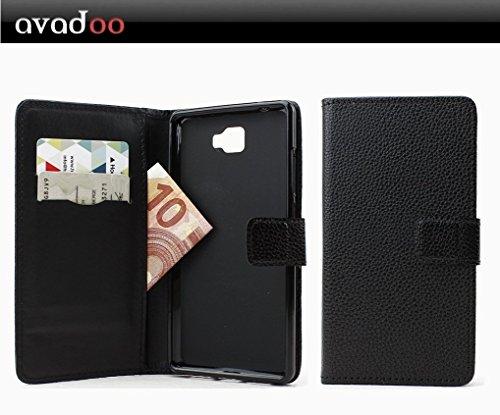 avadoo® Archos 55 Cobalt Plus Flip Case Cover Tasche Schwarz mit Magnetverschluss und Dualnaht als Cover Tasche Hülle