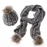 TININNA Autunno e Invernale Moda Caldo lavorato a maglia Sciarpe Cappello di lana set lunghe Sciarpe Berretto da sci per le Signora Donne Grigio