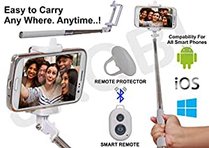 Selfie Stick Monopod With Bluetooth Remote Wireless Shutter Connectivity Compatible For LavaIris Fuel 25 -White