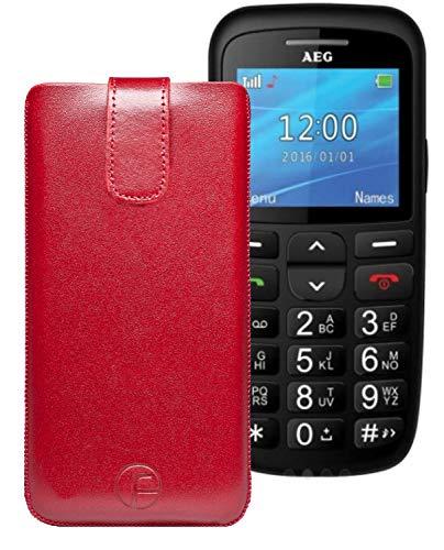 Favory ECHT Ledertasche Leder Etui AEG Voxtel SM315 Tasche (Lasche mit Rückzugfunktion) rot