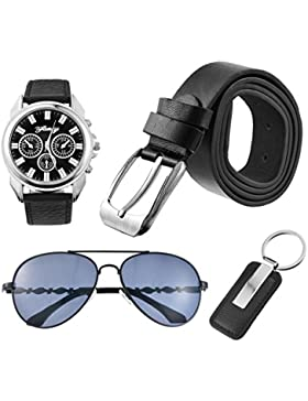 MJARTORIA Herren Business Stil Uhr Brille Schlüsselring Ledergürtel Schwarz Schmuck Set 4 Stück