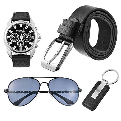 Souarts Herren Geschenkset mit Armbanduhr Sonnenbrille Gürtel Schlüsselanhänger Geschenkset für Herren