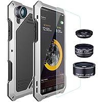 Für Iphone X Metallkasten, Cooljun imprägniern staubdichten Shockproof Aluminiumglas-Film-Leder-Rückseiten-Metallkasten-Abdeckung 360 voller Körper-Schutz-Haut-Kasten (Silber)