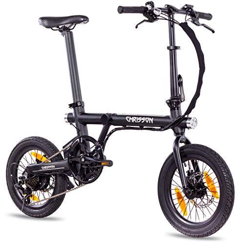 CHRISSON 16 Zoll E-Bike Klapprad ERTOS 16 schwarz - E-Faltrad mit Hinterrad Nabenmotor 250W, 36V, 30 Nm, Pedelec Faltrad für Damen und Herren, praktisches Elektro Klapprad