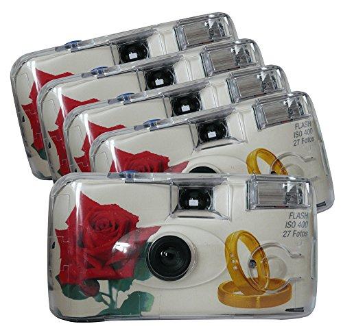 TopShot 376090 Golden Roses Einwegkamera 40027 mit eingebautem Blitzgerät Paket mit 5 Kameras weiß