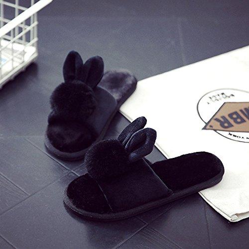 DogHaccd pantofole,Pantofole di cotone femmina spessa inverno inverno soggiorno nella bella piscina anti-slittamento, morbido peluche peluche pantofole inverno Nero3