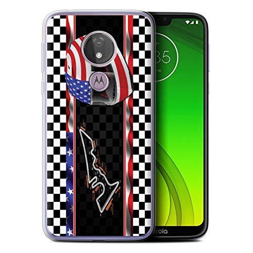 eSwish Gel TPU Hülle/Case für Motorola Moto G7 Power/USA/Austin Muster / F1 Piste Flagge Kollektion (Austin Powers Zubehör)