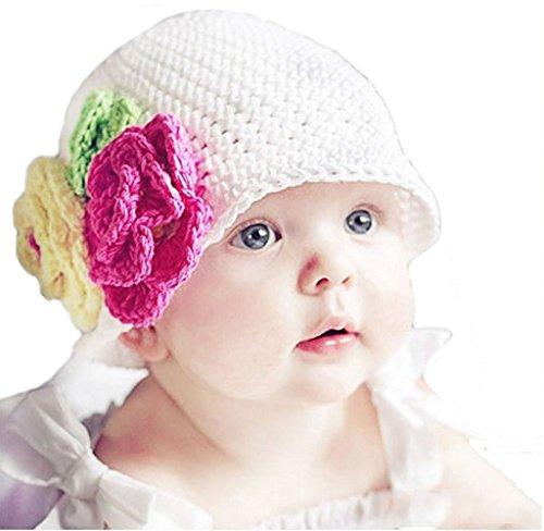 Baby Girls Toddler Crochet Beanie Hat with Flower Clip White