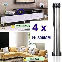 Qrity 4 unidades Patas de Metal muebles regulables armario de cocina pies redondo - Metal cromado - Altura ajustable (Total: 300-315mm)