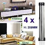 Qrity Lot de 4 Pieds de meubles, réglables Pied pieds de meubles - Chrome Métal - Hauteur réglable (Total: 300-315mm)