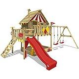 WICKEY Spielturm Smart Trip Kletterturm Zirkuszelt Spielhaus mit Schaukel und Rutsche, Holzdach, Sandkasten und Veranda