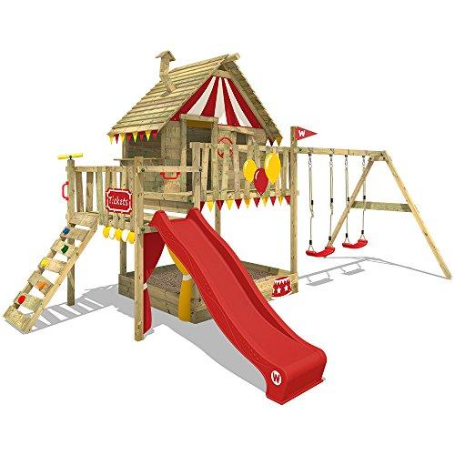 WICKEY Spielturm Smart Trip Kletterturm Zirkuszelt Spielhaus mit Schaukel und Rutsche, Holzdach, Sandkasten und Veranda - Mit Schaukel Spielhaus Kinder