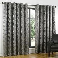 Spesso Tende in peltro grigio acciaio Swirl Design Coppia Occhielli, foderata:, Grigio, 230 x 183