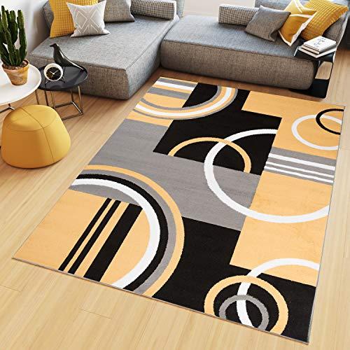 Tapiso Maya Teppich Kurzflor Modern Vierecke Kreise Streifen Figuren Design Schwarz Gelb Grau Weiß Wohnzimmer Schlafzimmer Büro ÖKOTEX 220 x 300 cm -