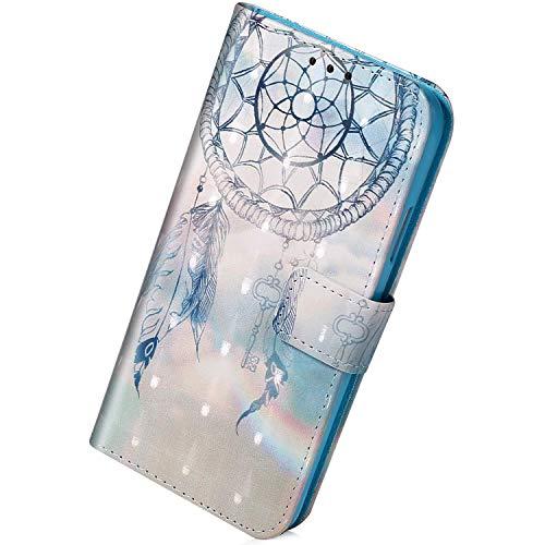 Herbests Kompatibel mit Samsung Galaxy A80 / A90 Handyhülle Leder Hülle Bunt Glänzend Glitzer Muster Klapphülle Flip Case Brieftasche Kartenfächer Schutzhülle Magnetverschluss,Dreamcatcher