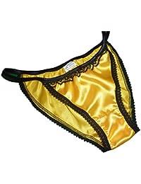 Fran/çois de Loire Shiny Satin and lace Mini Tanga String Bikini Panties Zebra Print with Black Trim Sizes XS to XXL