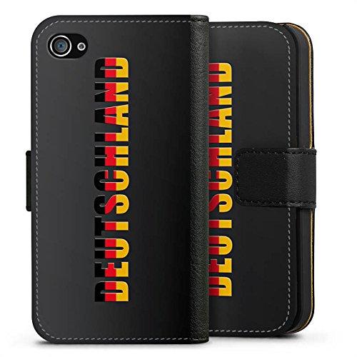 Apple iPhone X Silikon Hülle Case Schutzhülle Deutschland Fußball Flagge Sideflip Tasche schwarz
