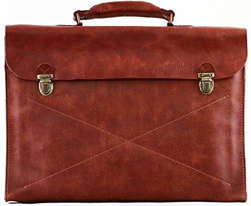 PAUL MARIUS maletín de cuero cartera de mano marrón LE LUNDI