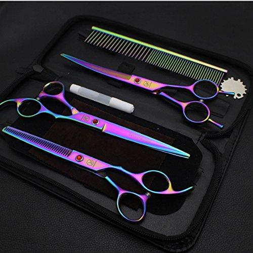Haustierschere Dog Grooming Scissors Kit - Gerade, Ausdünnung und gebogene scharfe Scheren für kleine oder große Hunde, Katzen oder andere Haustiere, Farbbeschichtung, 7.0 -