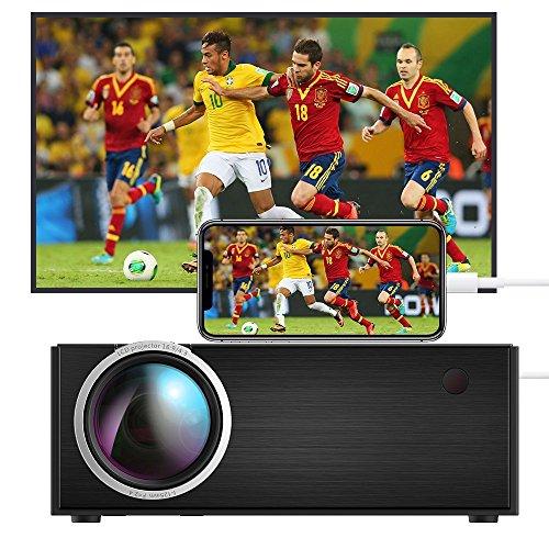 DIWUER C8 Mini Beamer Tragbarer, 1800 Lumen LED Video Projektor, Multimedia Heimkino LCD Video Beamer Full HD Unterstützt 1080P HDMI USB SD VGA AV für TV DVD Konsolen Spiele iPhone iPad Android, Schwarz