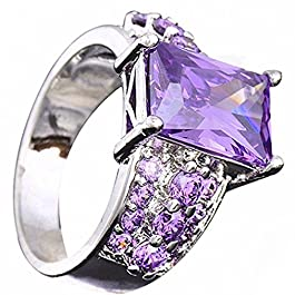 Amesii – Anello in stile nobile da donna in argento Sterling 925 con strass viola