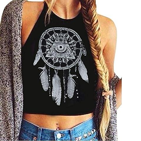Reaso Chic Femmes Mandala Imprimer Crop manches Halter Neck Débardeurs T-Shirt Vest (S, Noir)