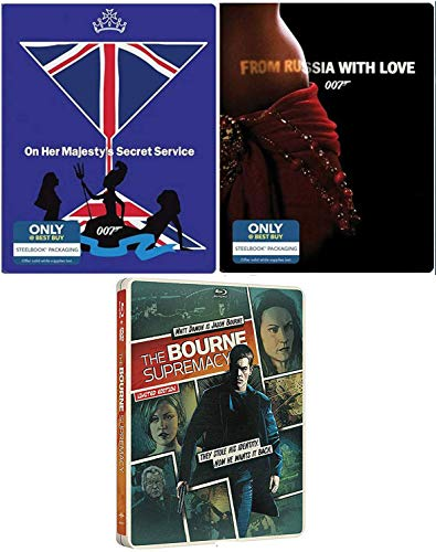 Supremecy Service Sean Connery James Bond Steelbook Collection 007 Blu Ray Russia with Love & Majesties Secret Service film + Jason Bourne Steel Book Action Movie Set
