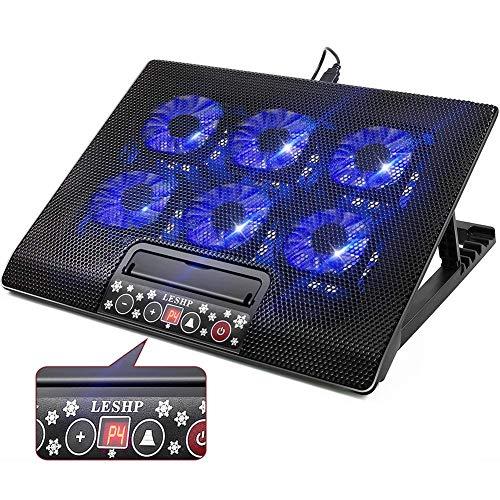 12-17 Zoll Gaming Laptop Kühler, Notebook Ständer mit Kühlfunktion, Tragbare Ultra-Slim 6 leise Lüfter Laptop Kühlung Pad mit LCD Bildschirm, 2 USB Einstellbare Höhe und Notebook Kühler