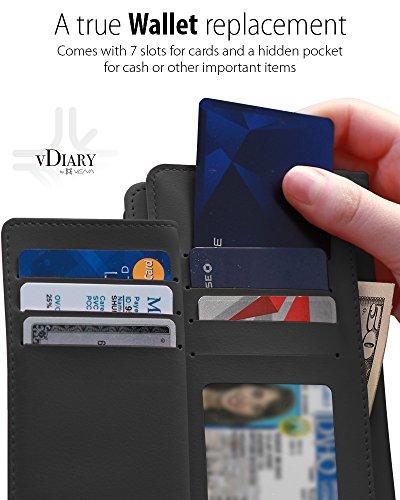 """iPhone 8 Plus / 7 Plus Brieftasche hülle, Vena [vDiary] Premium Flip Genuine Leder Etui (Kartenfach Halter) Slim Case Abdeckung mit Standfunktion Wallet für Apple iPhone 8 Plus / 7 Plus (5,5"""") (Schwar Schwarz"""