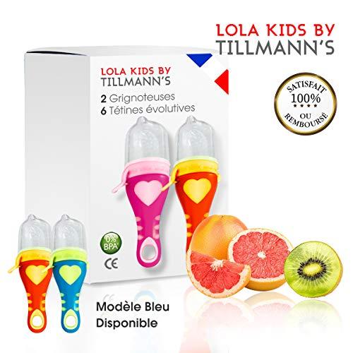 Lola Kids Tetine Grignoteuse Bebe/ 2 Grignoteuses (1 Rose et 1 Orange) + 6 Tetines fruit Evolutives/En Silicone Medical et Sans Bisphénol A/Anneau d'Alimentation soulage les gencives
