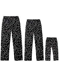 Zhhlaixing Pantalones de Pijamas Iguales de Familiar Navideños para Papá Mamá Niños - Papá Mamá Niño Pantalones de Dormir Suave Transpirable Terciopelo Estrella Impresión Pijamas Pantalones Largos