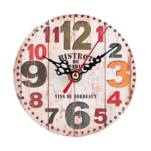 Preisvergleich Produktbild Vintage Wanduhr digitale Funk-Wanduhr Geschenk Ziffernblatt aus Holz Wohnzimmer Schlafzimmer LuckyGirls (C)