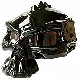 WU Persönlichkeit Mode Motorrad Helm Elf Half Helm Harley Helm Kann Tragen Eine Blase Spiegel Doppelseitig Kann Getragen Werden,B,XXL