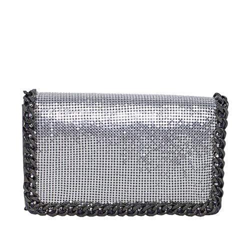Haute für Diva Damen Kettenhemd Kette Rand Umhängetasche - grau, Small