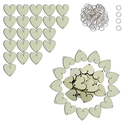 YuQi 50 Stücke Holzscheiben Kreise mit Löchern DIY Familie Geburtstag Kalender Bord Tags (Heart Discs)