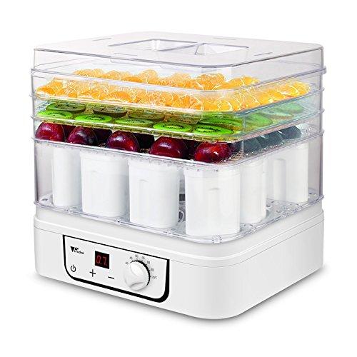 Amzdeal Deshidratador y yogurtera 3 pisos de alimentos 2 en 1, elaboración de yogur casero con 12 tarrinas yogur, con control de la temperatura y el temporizador