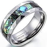 JewelryWe Schmuck 8mm Breite Herren Damen Ring Wolframcarbid Wolframcarbidring mit Abalone Muscheln Inlay Schrägkanten Damen-Ring Herren-Ring Größe 54 bis 67