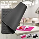 BasicForm XXL Silikon-Trockenmatte für Küchen-Arbeitsplatte 56.5x43.2x0.35cm (Schwarz)