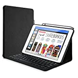 ProCase iPad 9.7 Bluetooth Keyboard Tastatur (QWERTY) Hülle mit Built-in Apple Pencil Halter, Dünn Folio Schutzständer Hülle mit Wireless kabellos Keyboard für Apple iPad 9.7 Inch 2018/2017 –Schwarz