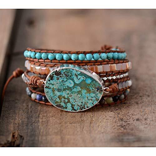 WODESHENGRI Armbänder,Charme Frauen Leder Armband Einzigartige Gemischt Natursteine Vergoldeten Stein Charme Wrap Bracelets Handgefertigte Boho Armband (Einzigartige Paar Kostüme)