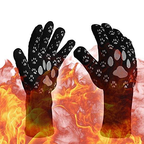 Grillhandschuhe Bear Claws AMZTM Bis 500 ° C Extrem Hitzebeständige Ofenhandschuhe Mit Rutschfestem Silikonfinger-geeignet für Barbecue, Picknick, Kochen, Backen, BBQ (Grau, 1 Paar)