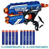 #4: MousePotato Blaze Storm Soft Bullet Gun with 10 Foam Bullets & Suction Dart Bullets (HOT FIRE36)
